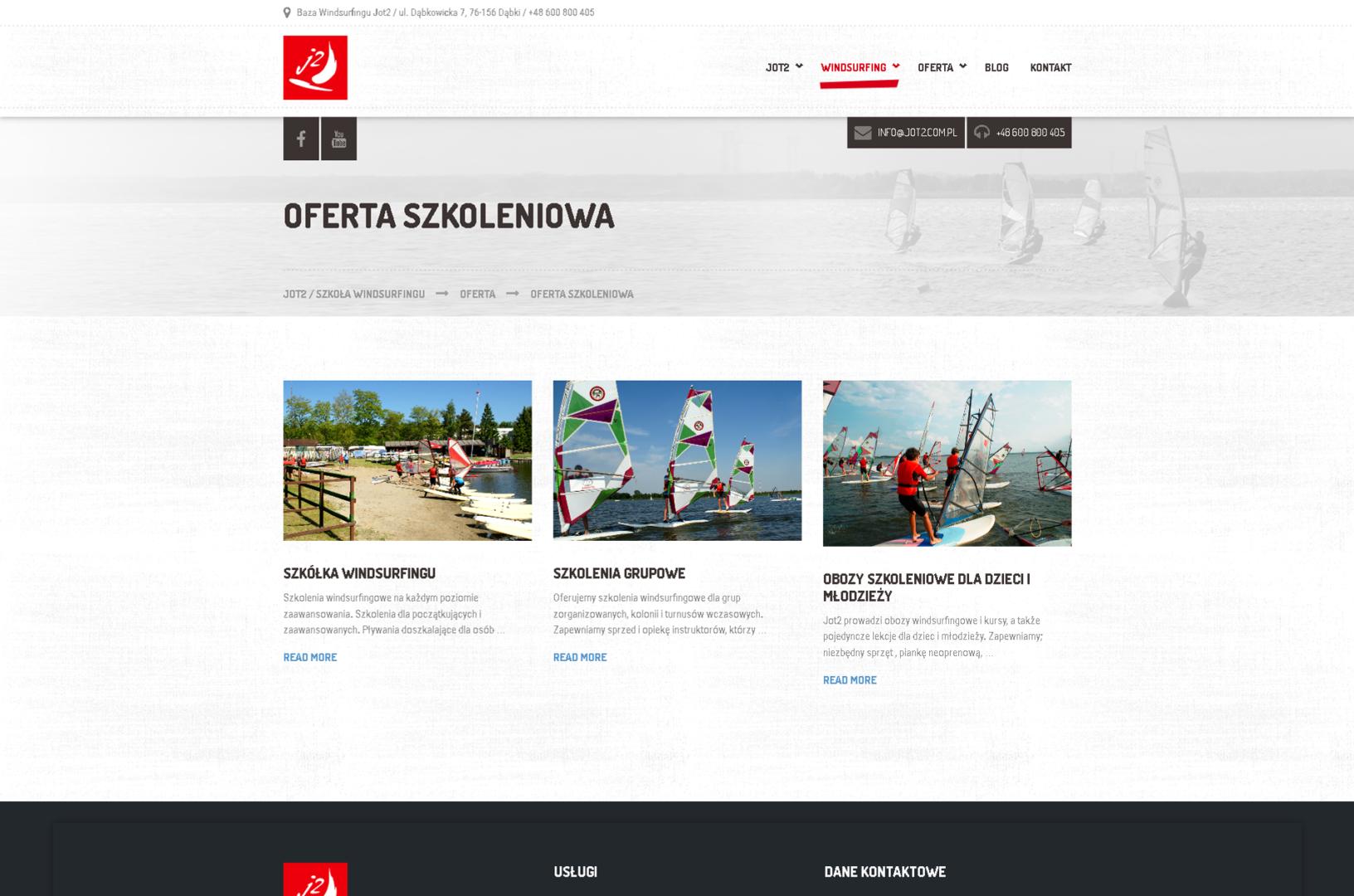 strona internetowa szkoły windsurfingu Jot2 od bzb effective brand solutions